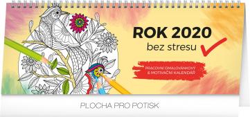 Stolní kalendář Rok bez stresu 2020, s omalovánkami, 33 × 12,5 cm