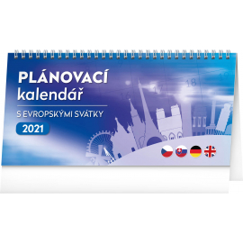 Desk calendar with European holidays 2021, 25 × 12,5 cm