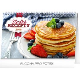 Stolní kalendář Sladké recepty 2018, 23,1 x 14,5 cm