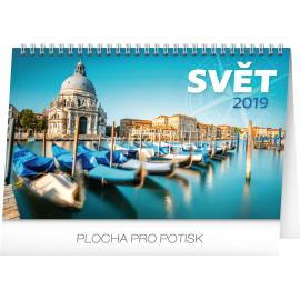 Stolní kalendář Svět 2019, 23,1 x 14,5 cm