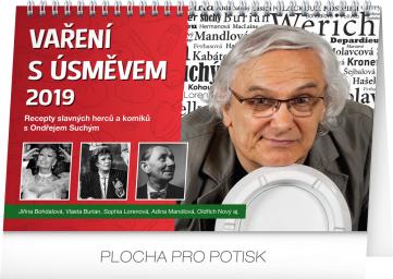 Stolní kalendář Vaření s úsměvem – recepty slavných 2019, 23,1 x 14,5 cm