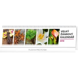 Stolní kalendář Velký žánrový kalendář 2018, 42 x 11,5 cm