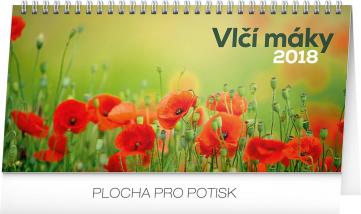 Stolní kalendář Vlčí máky řádkový 2018, 25 x 12,5 cm