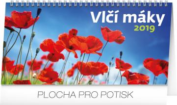 Stolní kalendář Vlčí máky řádkový 2019, 25 x 12,5 cm