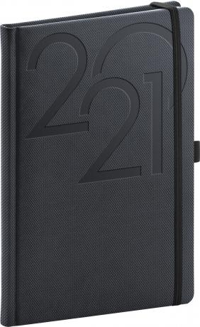 Týdenní diář Ajax 2021, antracitový, 15 × 21 cm