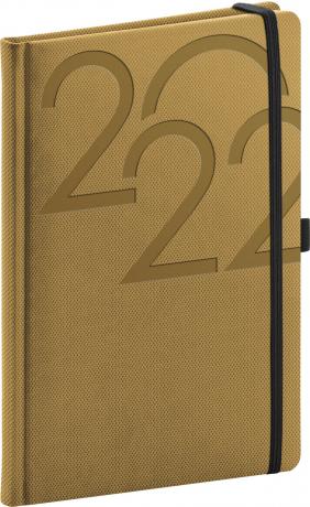 Týdenní diář Ajax 2022, zlatý, 15 × 21 cm