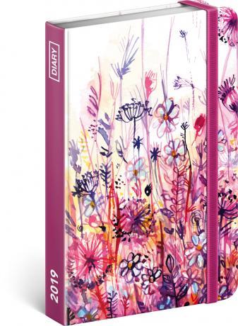 Týdenní diář Akvarelové květiny 2019, 10,5 x 15,8 cm