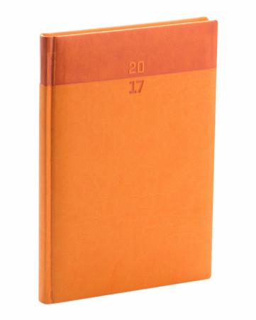 Týdenní diář Aprint 2017, oranžový, 15 x 21 cm, A5
