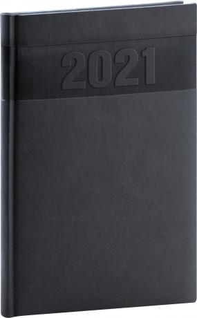 Týdenní diář Aprint 2021, černý, 15 × 21 cm