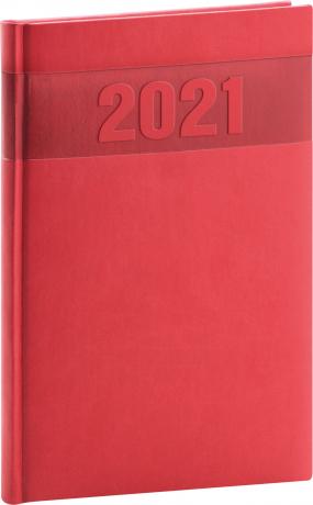 Týdenní diář Aprint 2021, červený, 15 × 21 cm