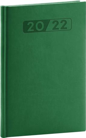Týdenní diář Aprint 2022, zelený, 15 × 21 cm