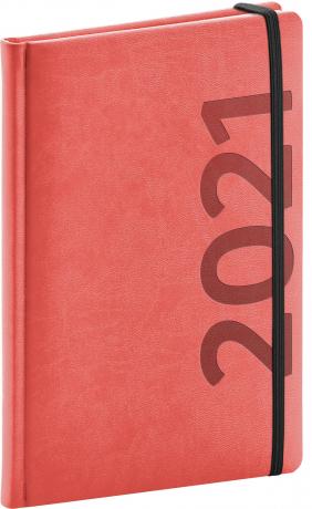 Týdenní diář Avilla 2021, oranžovočerný, 15 × 21 cm