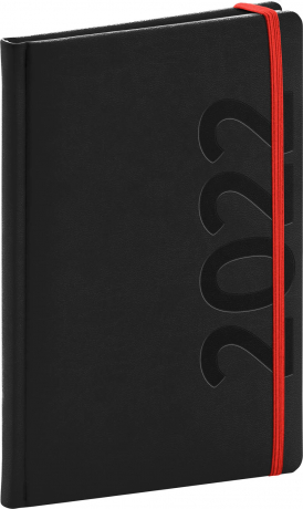 Týdenní diář Avilla 2022, černočervený, antibakteriální, 15 × 21 cm