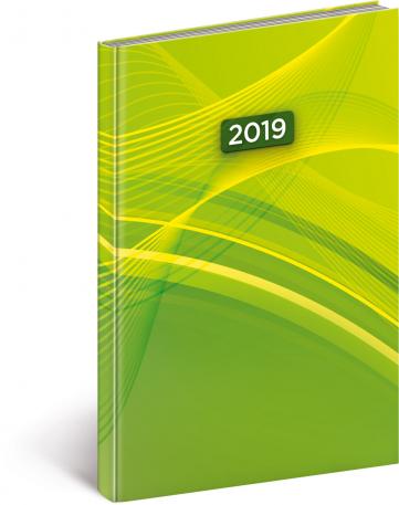 Týdenní diář Cambio 2019, zelený, 15 x 21 cm