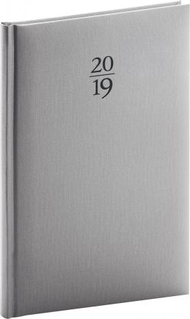 Týdenní diář Capys 2019, stříbrný, 15 x 21 cm