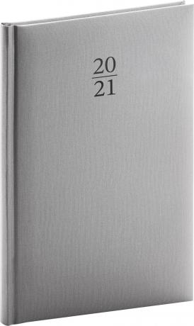 Týdenní diář Capys 2021, stříbrný, 15 × 21 cm