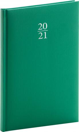 Týdenní diář Capys 2021, zelený, 15 × 21 cm