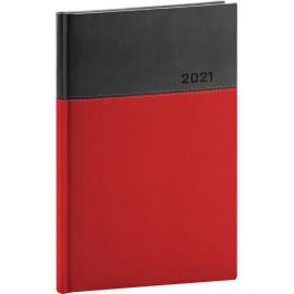 Týdenní diář Dado 2021, červenočerný, 15 × 21 cm