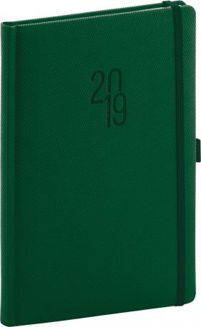Týdenní diář Diamante 2019, zelený, 15 x 21 cm