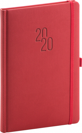 Týdenní diář Diamante 2020, červený, 15 × 21 cm
