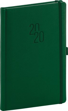 Týdenní diář Diamante 2020, zelený, 15 × 21 cm
