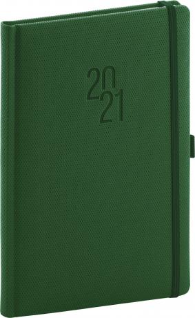 Týdenní diář Diamante 2021, zelený, 15 × 21 cm