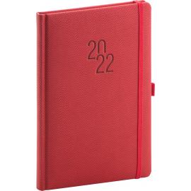 Týdenní diář Diamante 2022, červený, 15 × 21 cm