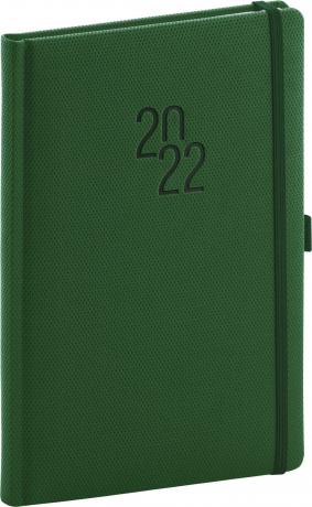 Týdenní diář Diamante 2022, zelený, 15 × 21 cm