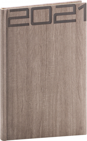 Týdenní diář Forest 2021, hnědý, 15 × 21 cm