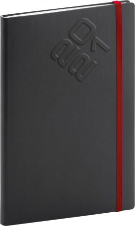 Týdenní diář Matra 2021, černočervený, 15 × 21 cm