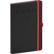 Týdenní diář Nox 2020, černý-červený 15 × 21 cm