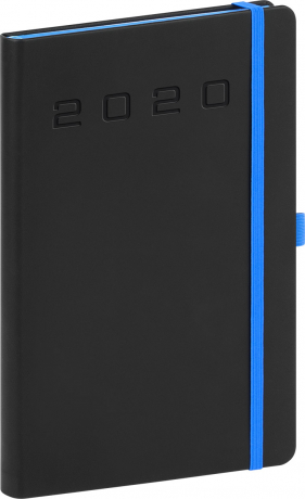 Týdenní diář Nox 2020, černý-modrý 15 × 21 cm