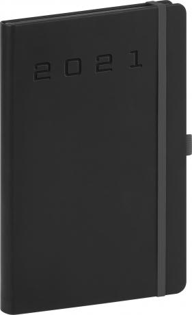 Týdenní diář Nox 2021, černý-černý, 15 × 21 cm