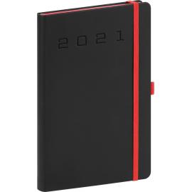 Týdenní diář Nox 2021, černý-červený, 15 × 21 cm