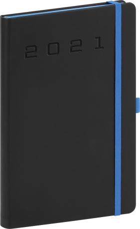 Týdenní diář Nox 2021, černý-modrý, 15 × 21 cm