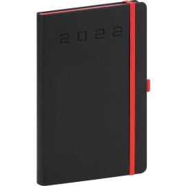 Týdenní diář Nox 2022, černý–červený, 15 × 21 cm