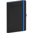 Týdenní diář Nox 2022, černý–modrý, 15 × 21 cm
