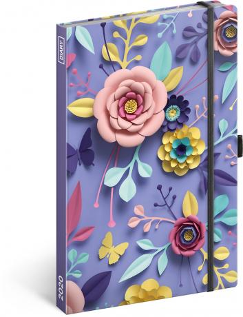 Týdenní diář Papírové květy 2020, 13 × 21 cm