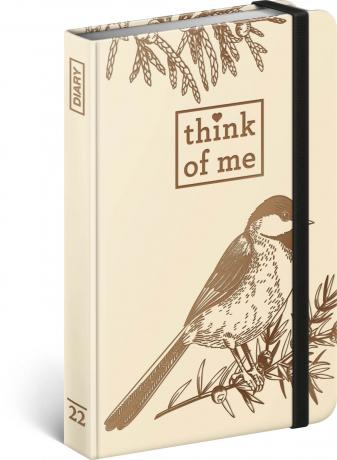 Týdenní diář Pták – Think of me 2022, 11 × 16 cm