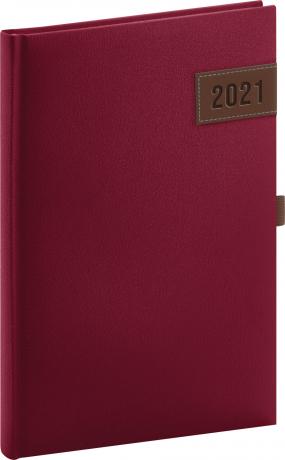Týdenní diář Tarbes 2021, červený, 15 × 21 cm