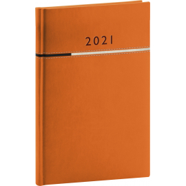 Weekly diary Tomy orange-black 2021, 15 × 21 cm