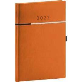 Týdenní diář Tomy 2022, oranžovočerný, 15 × 21 cm