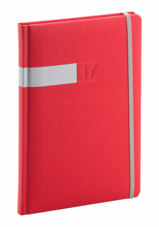 Týdenní diář Twill 2017, červenostříbrný, 15 x 21 cm, A5