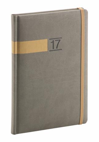 Týdenní diář Twill 2017, šedozlatý, 15 x 21 cm, A5