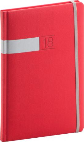 Týdenní diář Twill 2018, červenostříbrný, 15 x 21 cm, A5