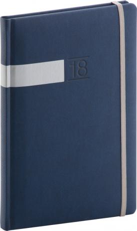 Týdenní diář Twill 2018, modrostříbrný, 15 x 21 cm, A5