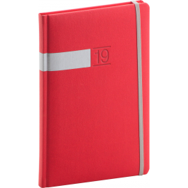Weekly diary Twill red-silver 2019, 15 x 21 cm