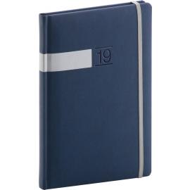 Weekly diary Twill blue-silver 2019, 15 x 21 cm