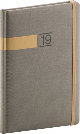 Týdenní diář Twill 2019, šedý, 15 x 21 cm