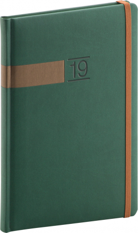 Týdenní diář Twill 2019, zelený, 15 x 21 cm